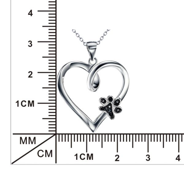 The sweet twist heart with pet footprint design sterling silver necklace