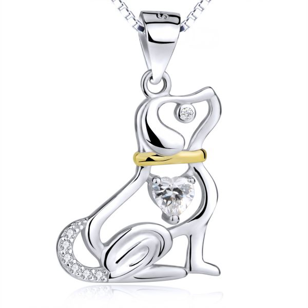 lovely dog shape 925 sterling silver with fine zircon stone necklace