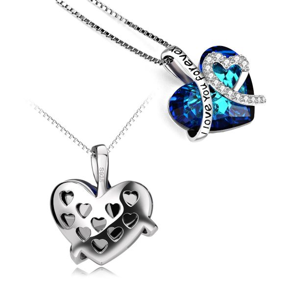 The gorgeous deep ocean blue swarovski crystal 925 sterling silver heart shape necklace