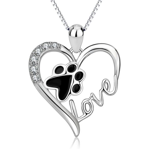Fine sterling silver chic heart design for dog lover necklace
