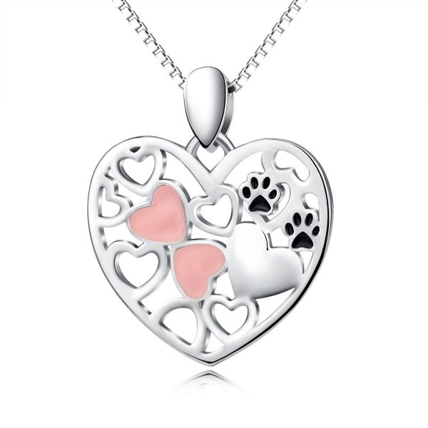 Sweet classic heart shape with footprint 925 sterling silver necklace