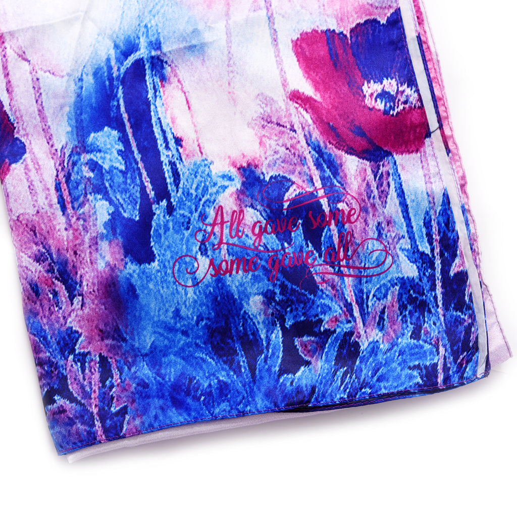 A eyecatching poppy flower imitated silk scarf with all gave some some gave all printing