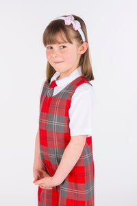 tartan pinafore in grey and red, slim style school dress, primary school uniform for Largs Inverkip West Kilbride Crookston Newark Port Glasgow and Gavinburn
