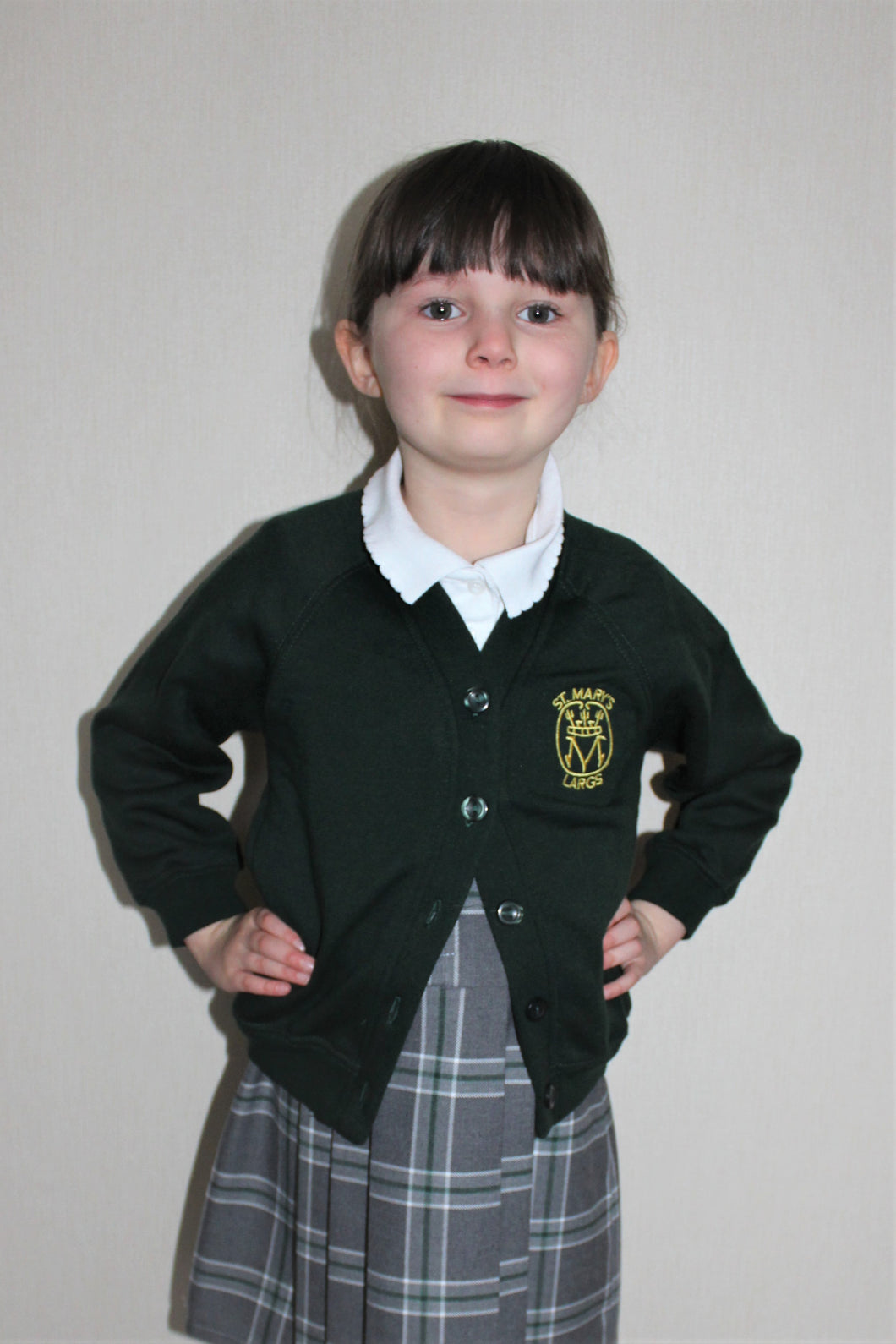 Girls Cardigan, part of St Mary's Primary School Uniform, Largs, dark green, embroidered with logo, affordable and long lasting