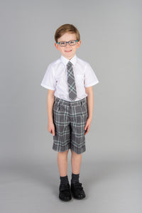 Grey Tartan Bermuda Shorts for St Marys Primary School uniform Largs, exclusive to Kinderland