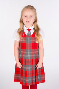 pleated grey and red tartan pinafore, school uniform for Primary Schools in Largs Inverkip West Kilbride Crookston and Gavinburn Port Glasgow Newark
