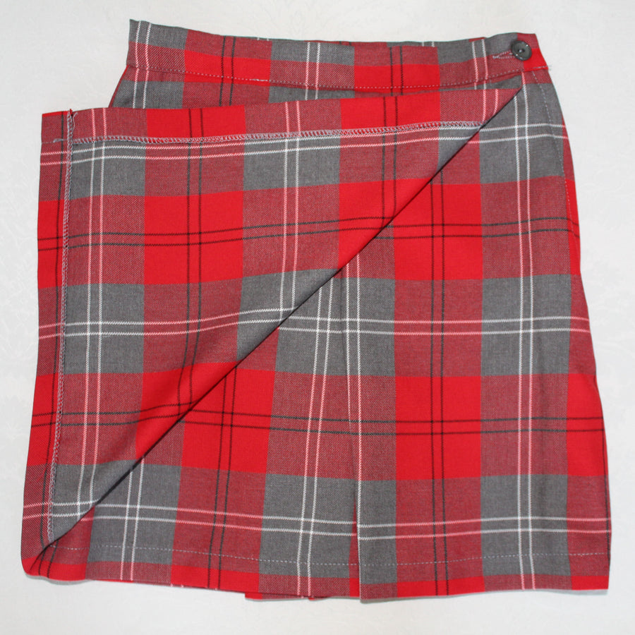 Red and grey tartan skorts, perfect for the school playground, looks like a skirt but the shorts are hidden, exclusive at Kinderland
