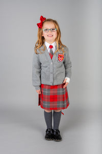 grey cardigan for girls, part of Largs Primary school uniform