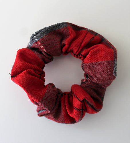 red and grey tartan hair scrunchie, perfect school uniform accessory, matching pinafores for Largs Inverkip West Kilbride Crookston Newark Port Glasgow and Gavinburn Primary School