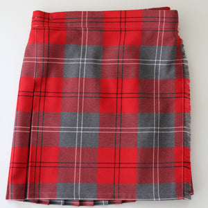 tartan kilt with elasticated waistband red and grey check for Largs Inverkip Gavinburn Port Glasgow Crookston West Kilbride Primary School