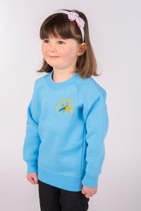 Largs EYC uniform, light blue high quality sweatshirt embroidered with nursery logo