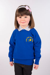 Largs Early Years Centre uniform, dark blue non-colour fading nursery jumper, especially designed for young children