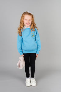 Largs EYC uniform, light blue nursery seatshirt, non colour fading, long lasting jumper