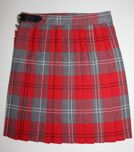 tartan school kilt red and grey, adjustable waist band age 3 4 5 6 7 8 9 10 11 12 13