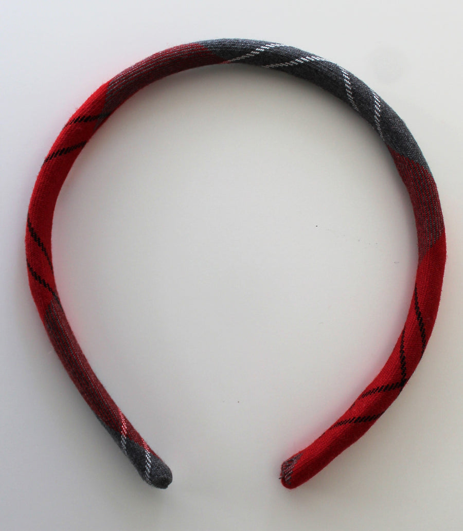 Alice hair band in red and grey tartan, school uniform accessory, matching pinafores for Largs Inverkip West Kilbride Crookston Newark Port Glasgow and Gavinburn Primary School