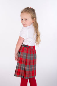 tartan kilt red and grey with adjustable waist, shop high quality school uniforms with Kinderland