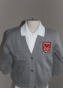 Largs Primary grey cardigan with school badge embroidered, low coast high quality