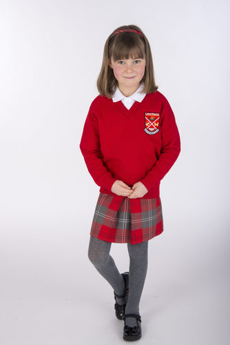 skinny fit red and grey tartan school pinafore for Largs Inverkip Gavinburn Glasgow Crookston Primary School size 5-6 6-7 7-8 8-9 9-10 11-11 11-12