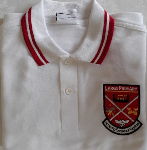 Largs Primary school uniform embroidered polo shirt with red top collar