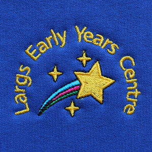 Largs EYC uniform with a choice of light and dark blue sweatshirts plus grey, white and blue polos