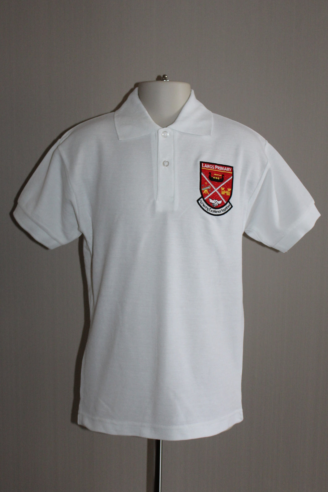 Largs Primary white polo shirt from Kinderland Largs, Largs Primary school uniform