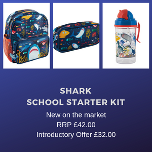 buy the trendiest primary school starter set 2020, shark attack with backpack rucksack pencil case and matching drinking bottle