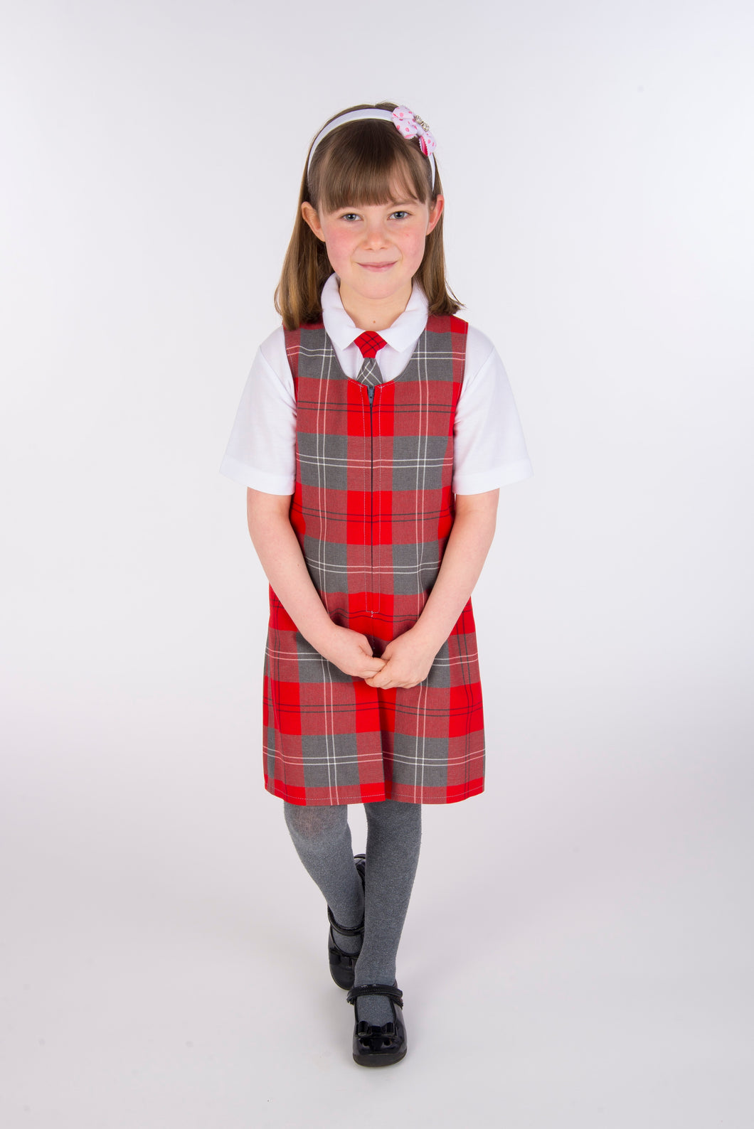 buy slim fit red and grey tartan school pinafore in size 3-4 4-5 5-6 6-7 7-8 8-9 9-10 11-11 11-12 13