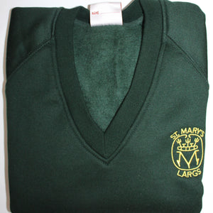 bottle green V Neck sweatshirt embroidered with St Marys Primary school badge Largs