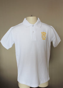 white polo shirt for PE and every day at school, part of St Mary's Primary school uniform Largs