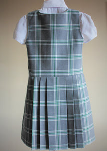 grey St Mary's tartan school pinafore