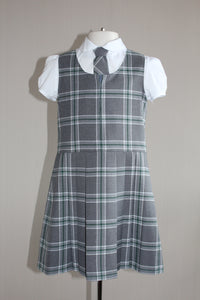 St Mary's Primary uniform, grey tartan kilt with front zip for a quick change on PE days