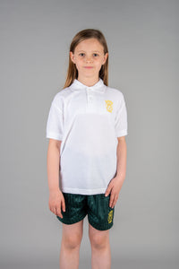 white polo shirt with St Marys Primary School badge, perfect for everyday at school and for PE