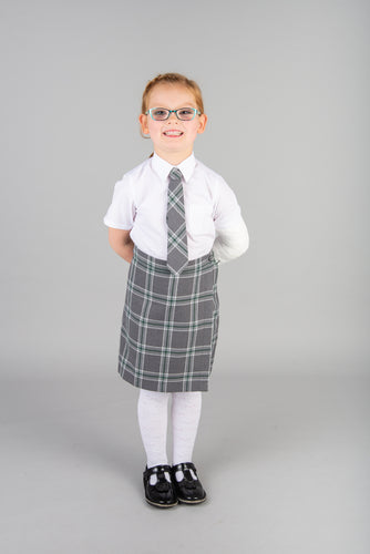 Grey tartan culottes, part of St Mary's Primary School uniform, trendy and comfortable skorts for girls