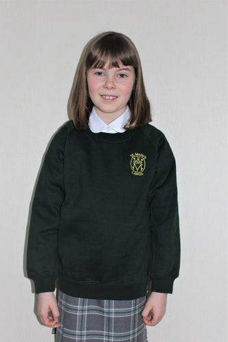 Bottle green sweatshirt for St Mary's Primary School Largs, long lasting and non-colour fading school jumper for everyday