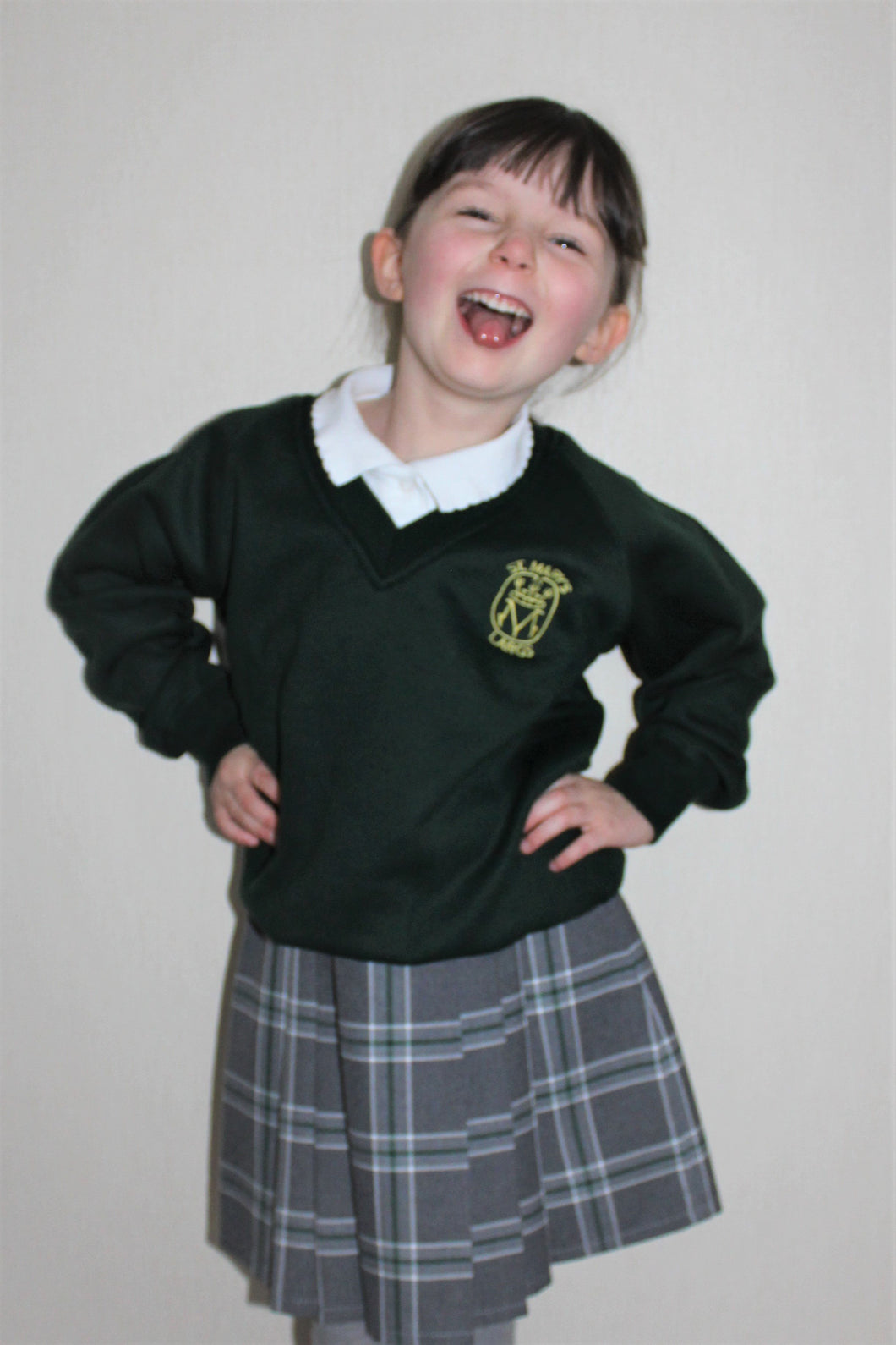 V-Neck jumper for St Mary's Primary in Largs, long lasting colours, affordable, bottle green, embroidered with badge