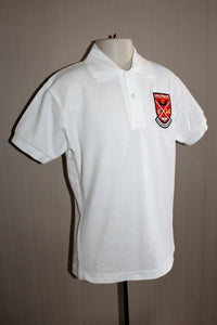 Largs Primary White Polo Shirt with Embroidered School Badge