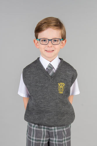 St Marys Primary School Tanktop, comfortable slip over with embroidered school badge, available in grey and green
