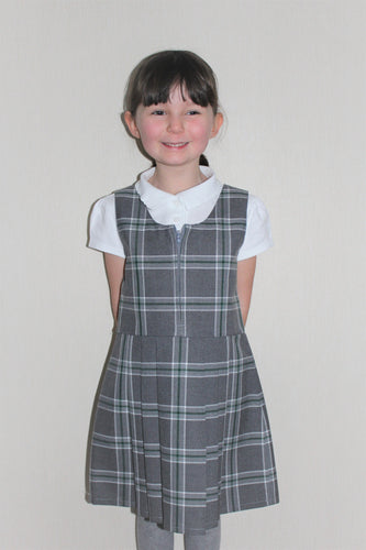Grey and green pleated tartan school pinafore, cute school dress for girls