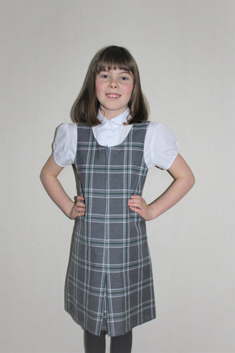 Slim fit  grey and green tartan school dress, easy to get on and off with front zip