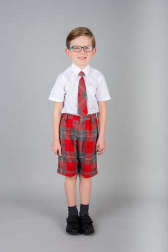 Red and Grey School Tartan Bermuda Shorts - for Boys and Girls