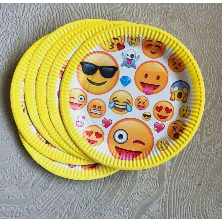 10 pcs Kids Party Favors Smiley Face Theme Tableware Paper Plates Happy Birthday Party Supplies-Party Supplies-Shop Here Pravalia