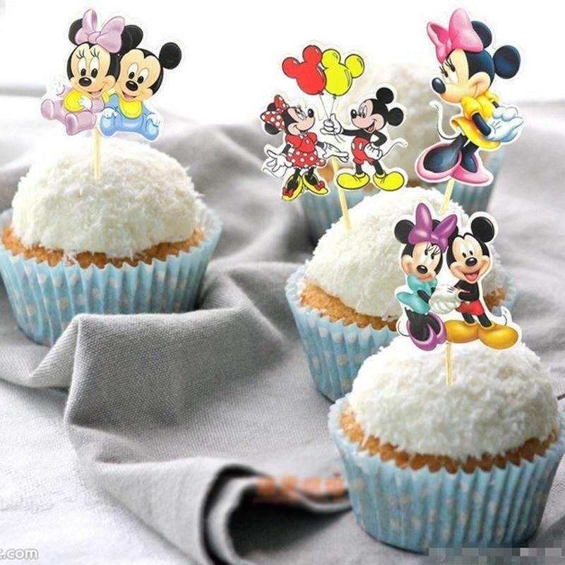 24pcs Mickey & Minnie Mouse Cupcake Topper Picks Birthday Party Kids Party Favors Party Supplies-Party Supplies-Shop Here Pravalia