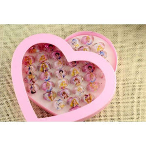 36pc Disney Princess Snow White Heart Shape Crystal Kids Finger Rings Party Favors-Party Supplies-Shop Here Pravalia