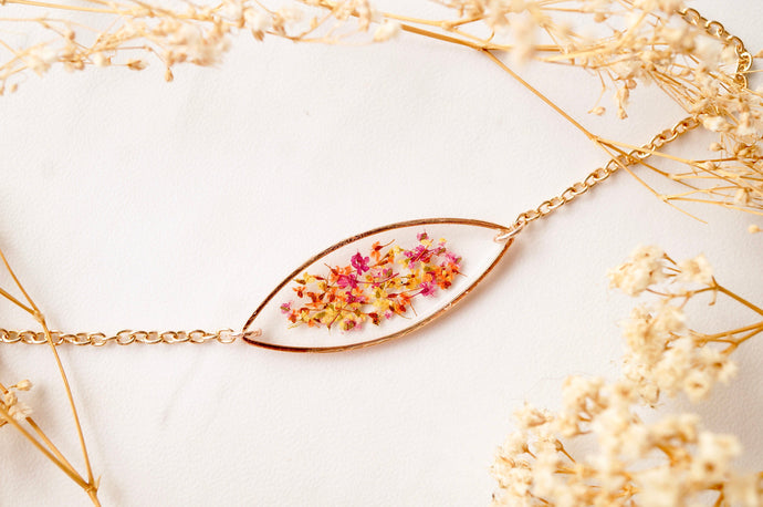 Real Pressed Flowers and Resin Bracelet, Rose Gold in Red Orange Yellow Mix-Shop Here Pravalia