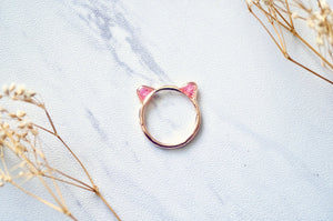 Real Pressed Flowers and Resin Cat Ring in Rose Gold and Pink-Shop Here Pravalia