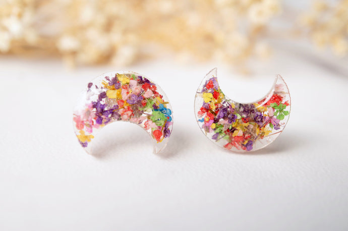 Real Pressed Flowers and Resin Celestial Moon Stud Earrings in Party Mix-Shop Here Pravalia