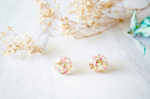 Real Pressed Flowers and Resin Circle Stud Earrings in Pink Green Gold Flakes-Shop Here Pravalia