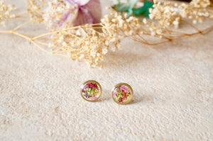 Real Pressed Flowers and Resin Circle Stud Earrings in Purple Yellow Pink Red Green Mix-Shop Here Pravalia
