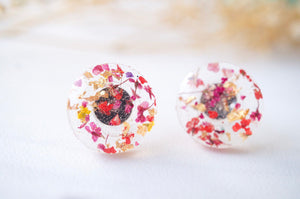 Real Pressed Flowers and Resin Circle Stud Earrings in Red Pink and Gold Flakes-Shop Here Pravalia