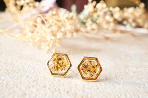 Real Pressed Flowers and Resin Hexagon Gold Stud Earrings in Yellow and White-Shop Here Pravalia